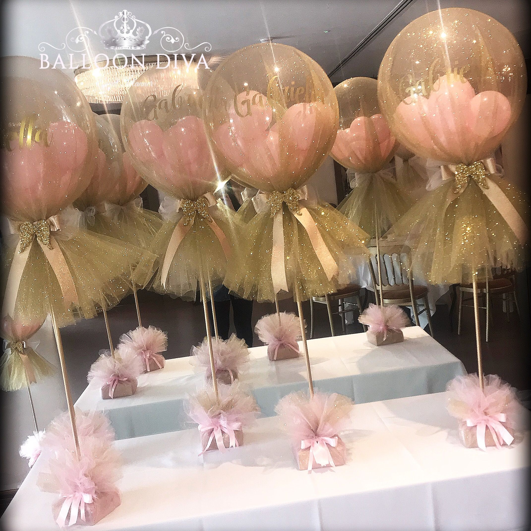 Tulle Covered Balloons With Images Baby Shower Balloons Girl