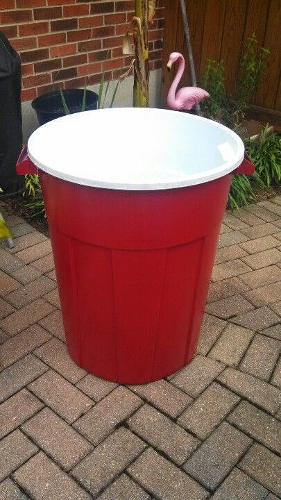 Giant Red Solo Cup 1 A Trash Can 2 And White Paint 3