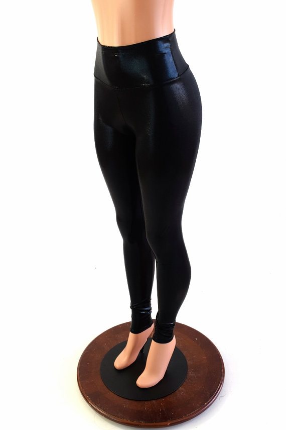 e24f677ed13c4 Black Mystique Metallic Shiny High Waist Lycra Spandex Leggings - 153988