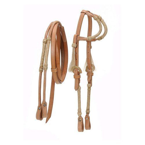 2 Ear Silver Royal King Headstall Reins Show Horse Bridle Light Oil Leather