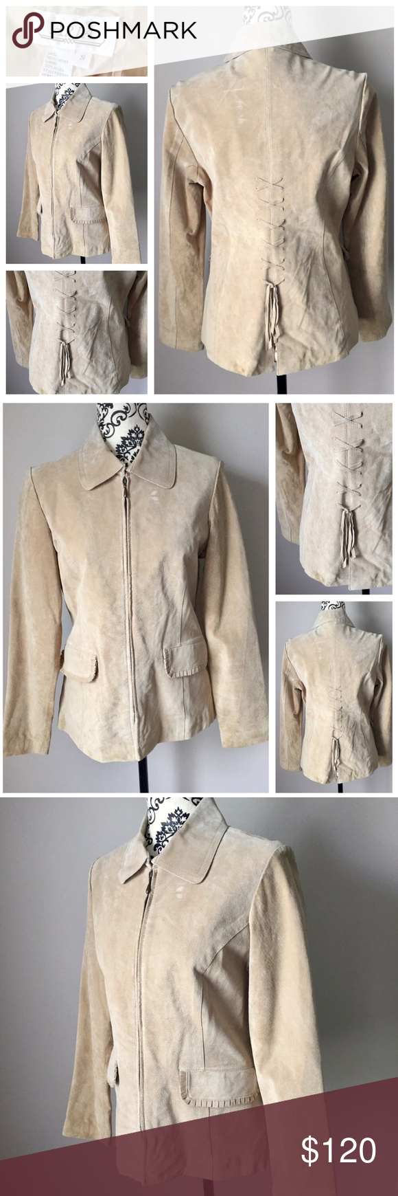 🎉 Aria 100% leather light tan jacket lace up back Aria 100% leather light tan jacket. Antique gold zipper details. Fully lined. Fun and unique lace-up back. Size small fits true to size. Adorable scalloped edge pockets. Gently pre-loved with some signs of wear as shown in photos. I believe it just needs to be cleaned and would look like new! Zipper front with hook and eye closure at neck. This is a great piece for fall and winter to add some sass to any look! Looks adorable with skinny…