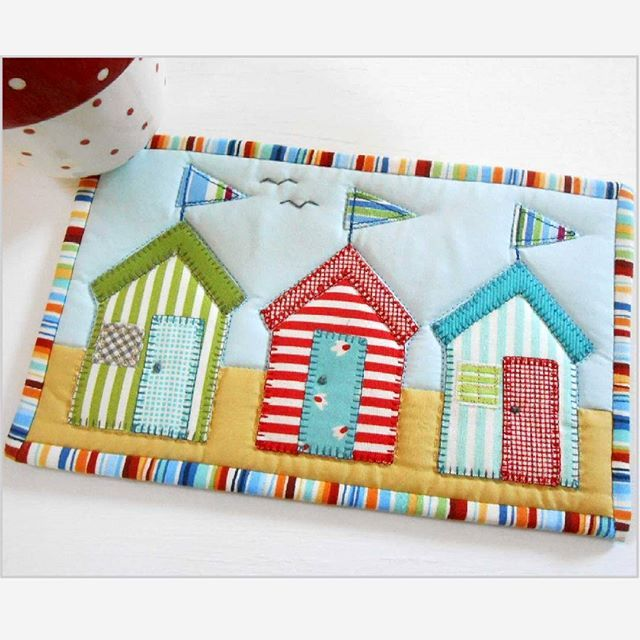 Beach Hut Machine Embroidery Design: Beach Huts Mug Rug. Oh For Summer Days. I Have Just Cycled