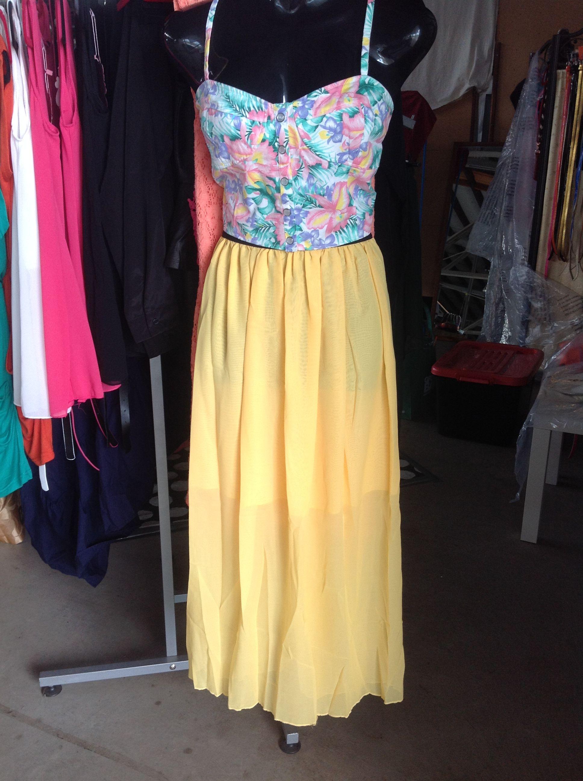 Chiffon maxi skirt yellow shonz summer collection pinterest