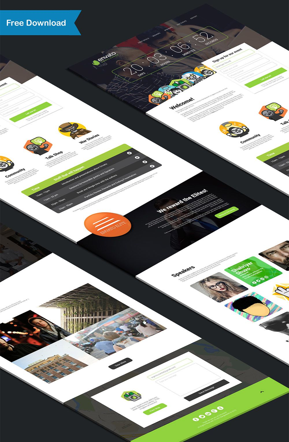 Nice Event And Conference Landing Page Free PSD Template Download - Event landing page template free