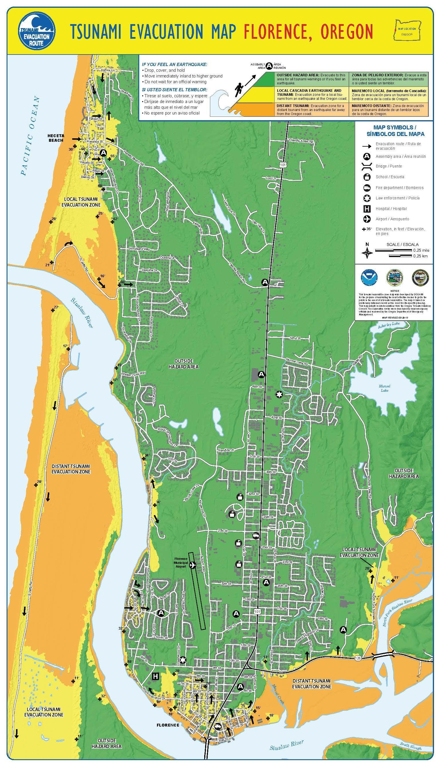 Tsunami evacuation map. Florence, Oregon, by the Oregon