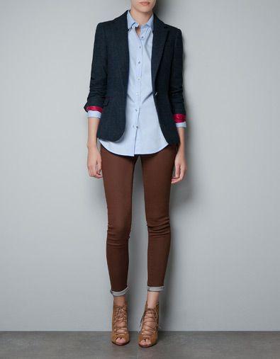 blazer en laine carreaux avec coudi res vestes femme zara france v tements pinterest. Black Bedroom Furniture Sets. Home Design Ideas