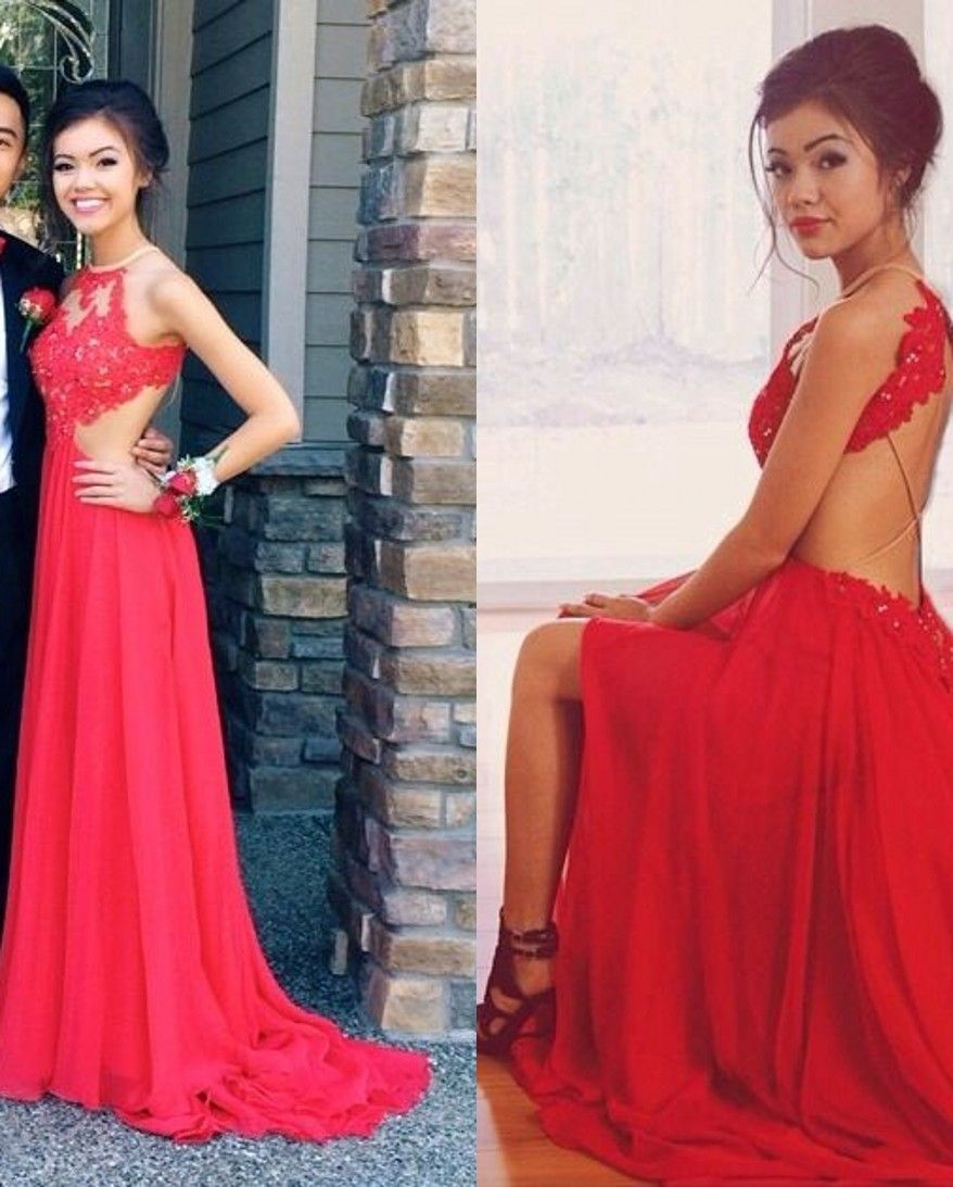 red lace a line dress prom