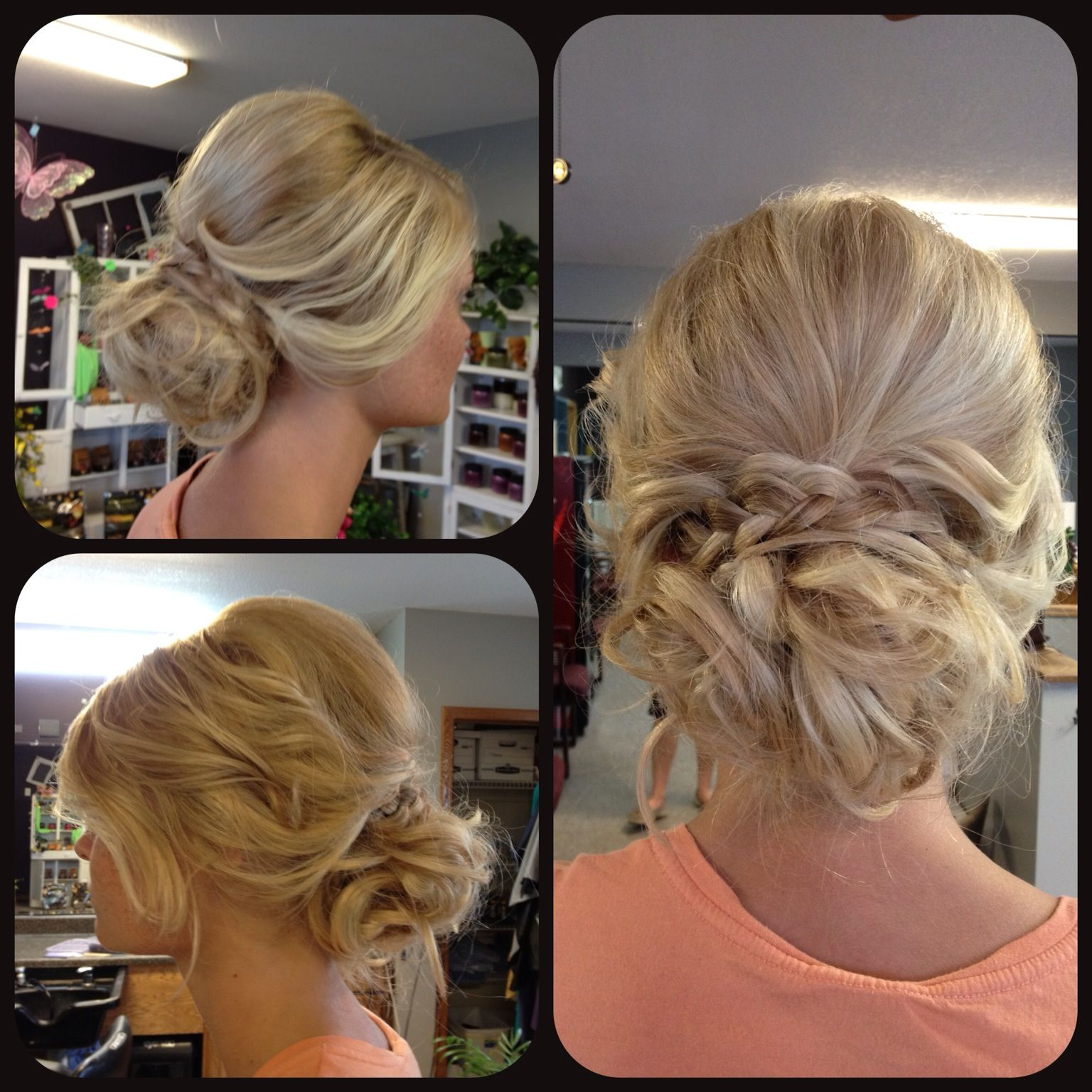 Prom updo upstyle loose messy curly curled braid blonde ...