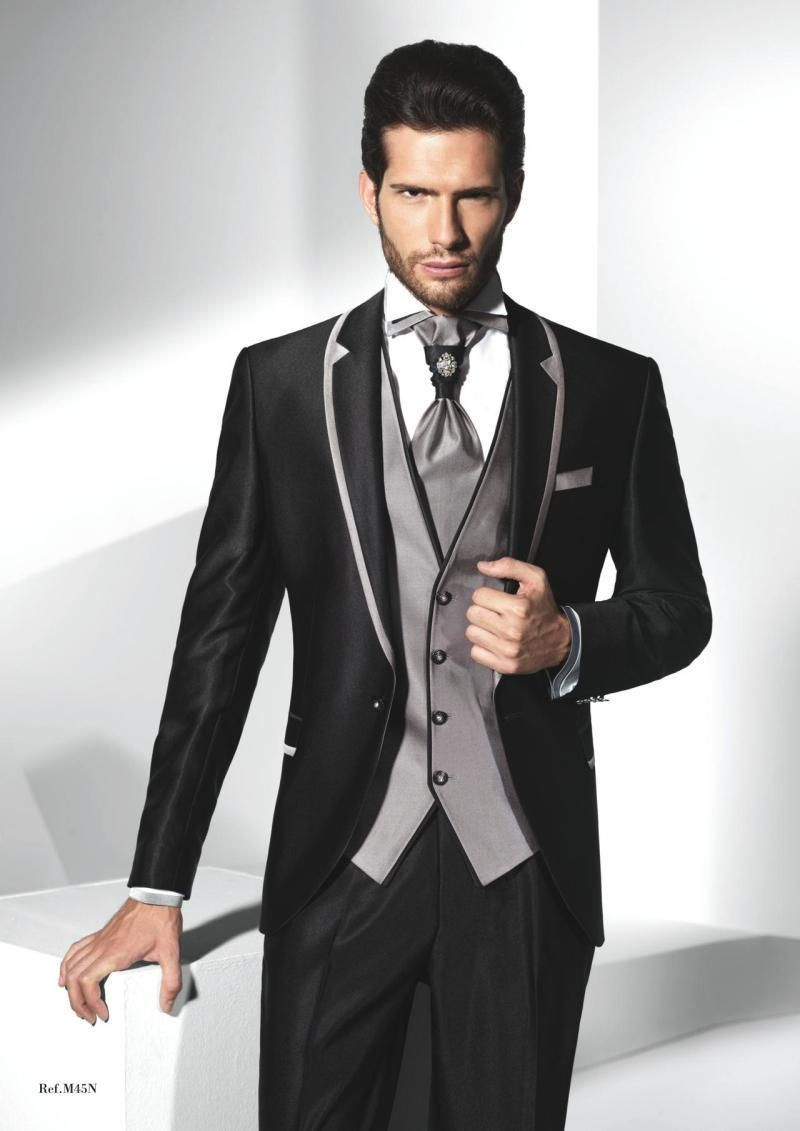 New Arrival One Button Black Groom Tuxedos Groomsmen Mens Wedding ...