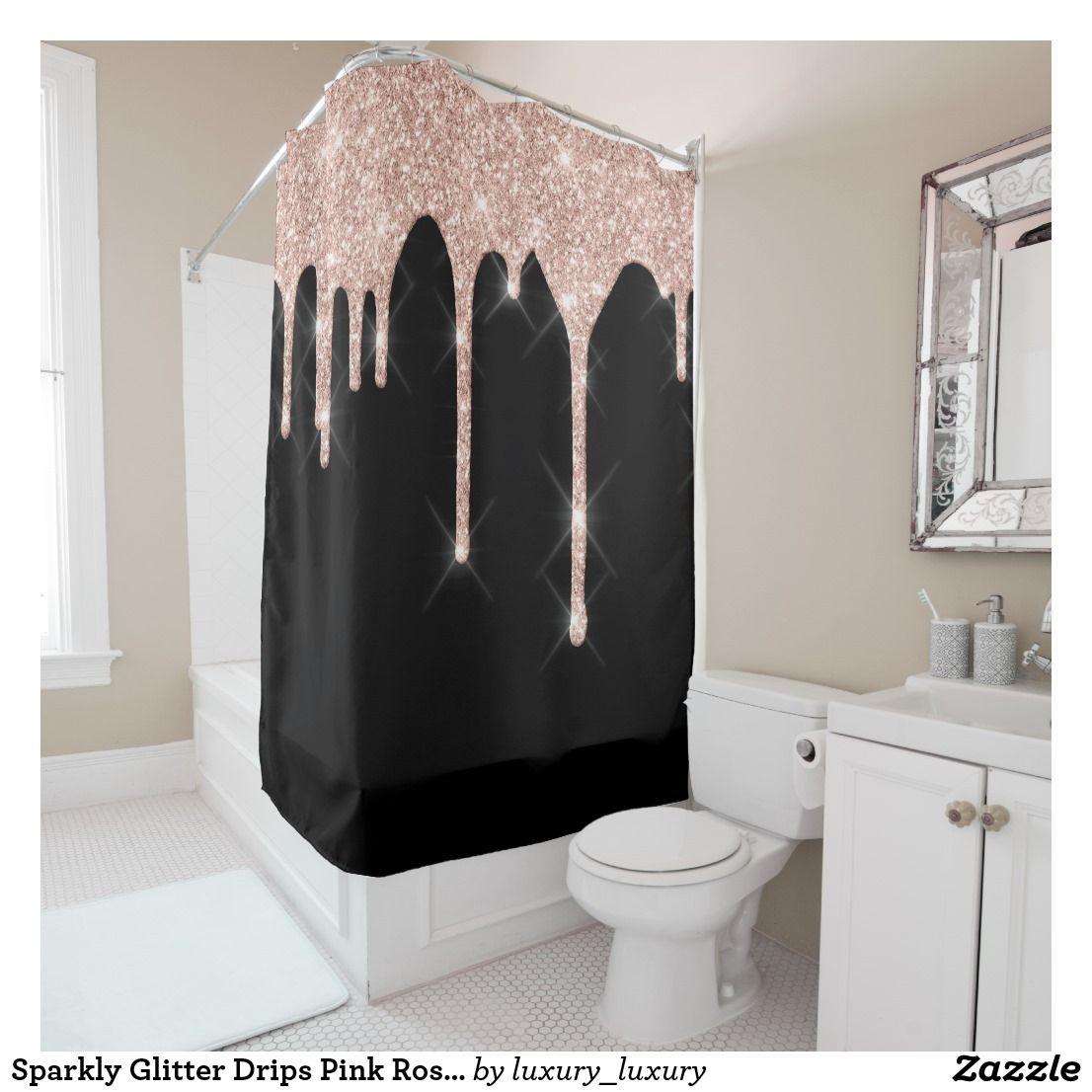 Sparkly Glitter Drips Pink Rose Gold Blush Black Shower Curtain