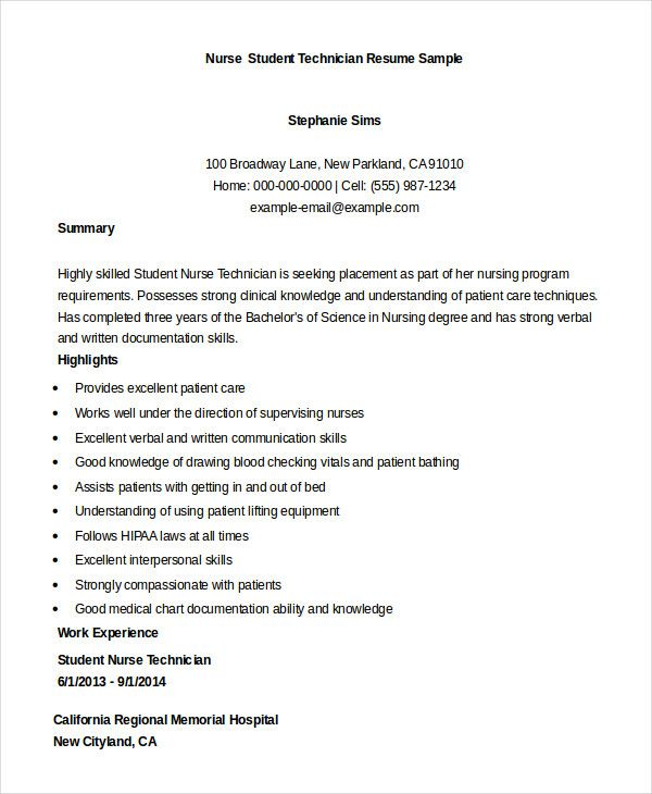 nursing student resume example free word pdf documents download - nurse technician resume