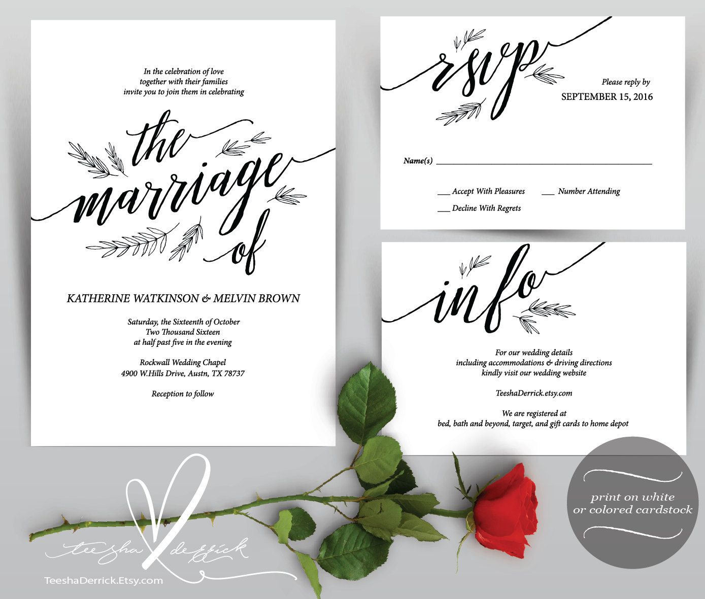 Wedding Invitation Cards Instant Printable Pdf