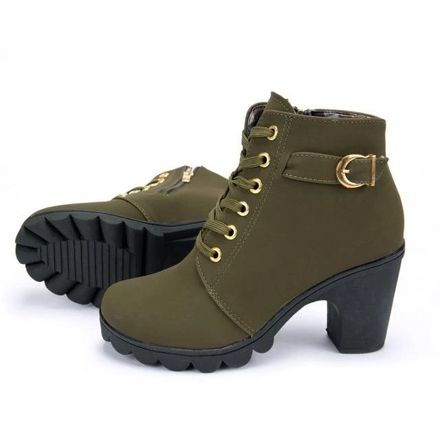 Women Ankle Boots Elegant Fashion Square High Heel Vintage Lace Up Boots