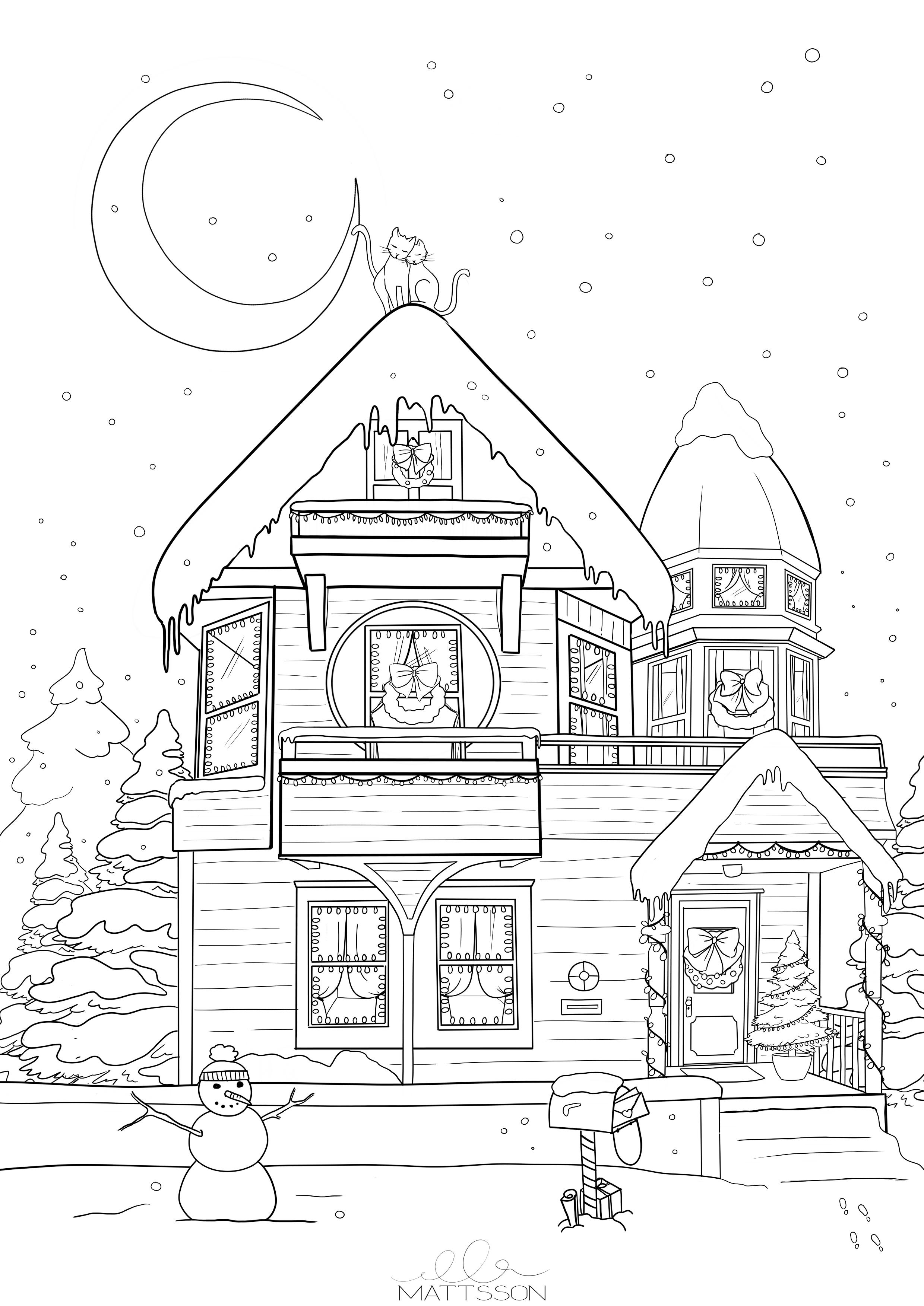 Weihnachten Viktorianischen Haus Art Auf Meinem Blog Finden Sie Kostenlose Malvorlagen Und Fensterbilder Fur Winter Und Weihnachten Die Ich Sel Cizimler Nakis