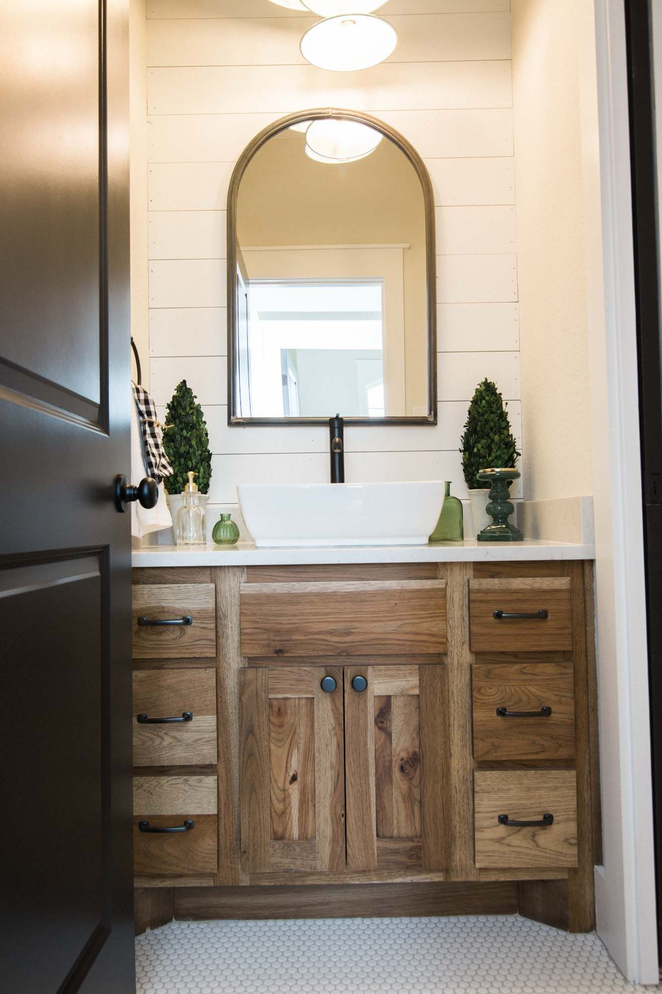 Bathroom Inspiration With White Shiplap And Light Stained Wood Cabinets White Bathroom Cabinets Trendy Bathroom Tiles Wood Bathroom