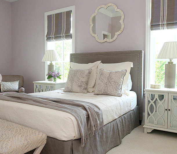 Andrew Howard Design Lavish Mixture Of Whites Lilac And Gray Mirrored Furniture Metalli Bedroom Design Interior Design Living Room Modern Bedroom Headboard