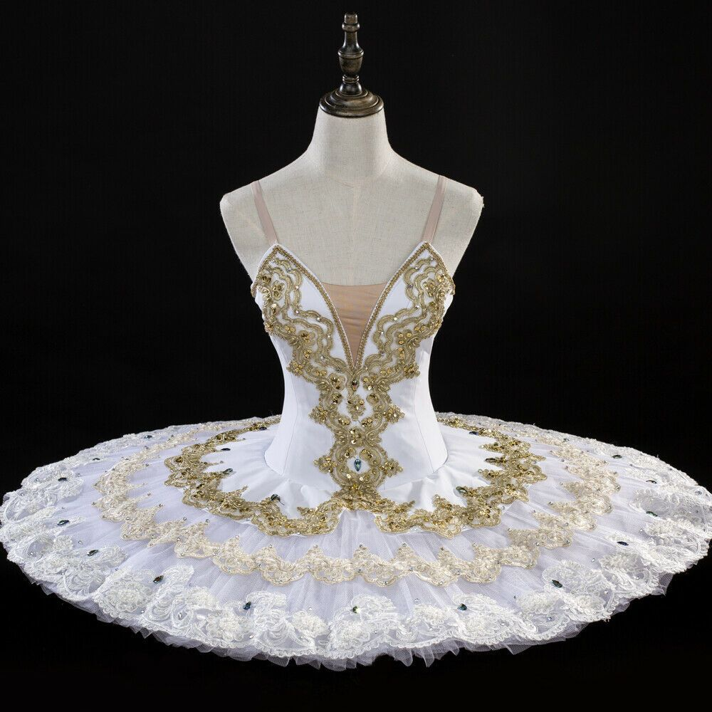 Classical Professional Ballet Tutu Pancake Tutu White Gold Made To Your Size