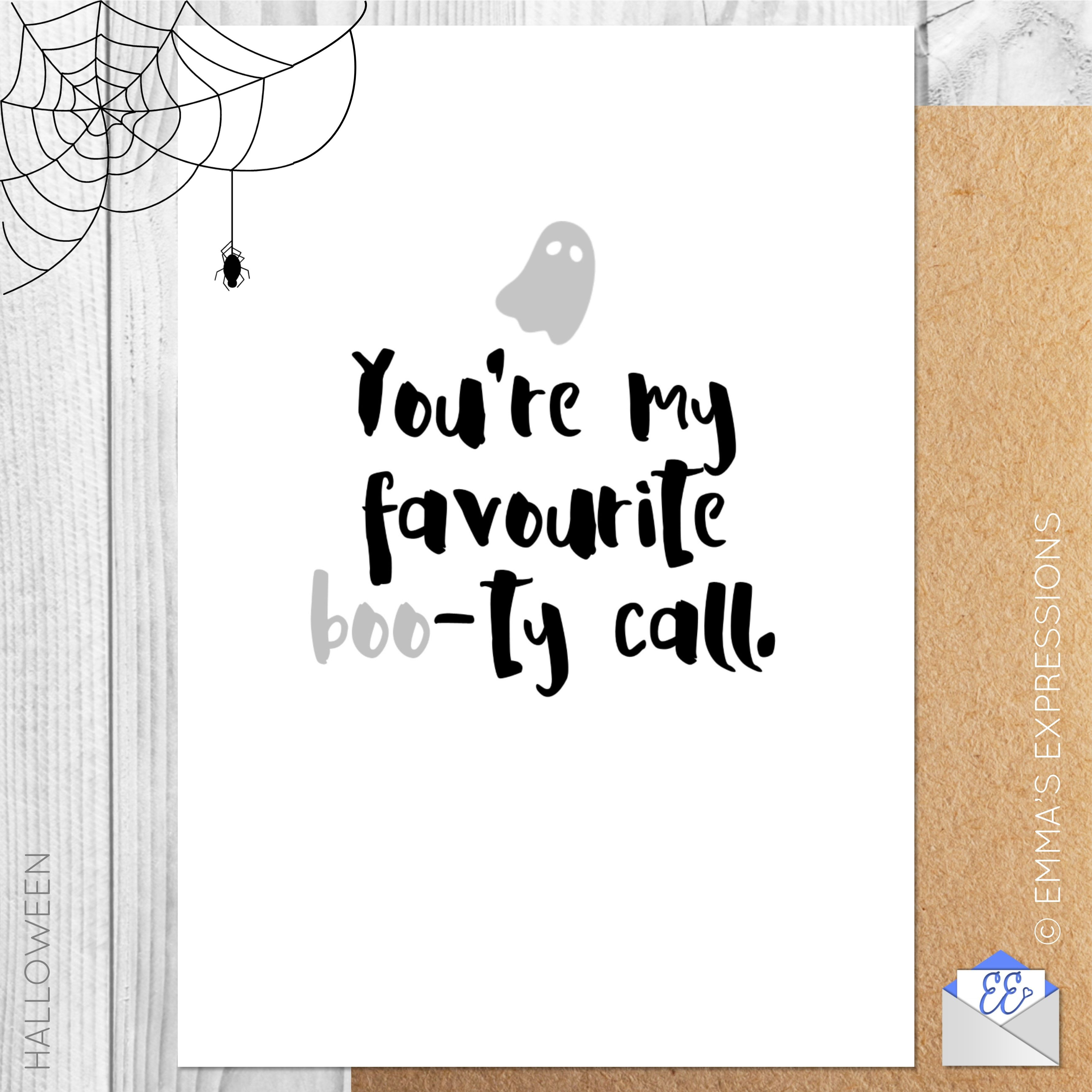 Youre My Favourite Boo Ty Call Funny Rude Halloween Greeting Card