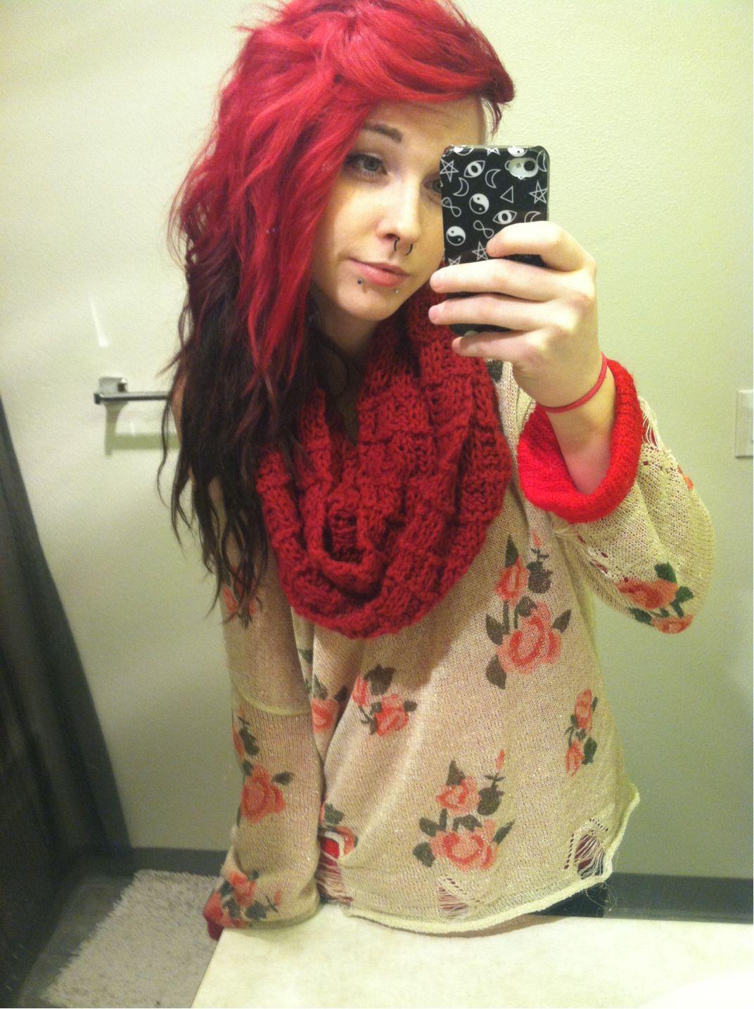 Red u black dyed scene hair pretty color me pretty hair