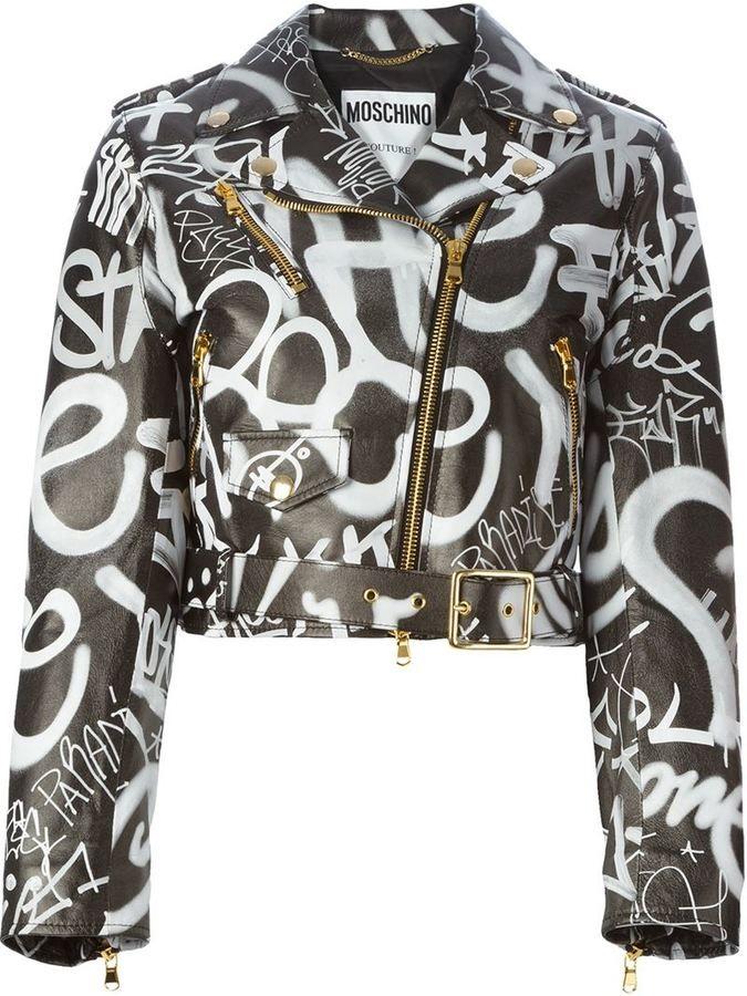 11aa5c026 I am so loving this Moschino graffiti print biker jacket ...