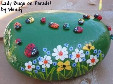 I think I will do this with a large rock with only one ladybug and add house numbers
