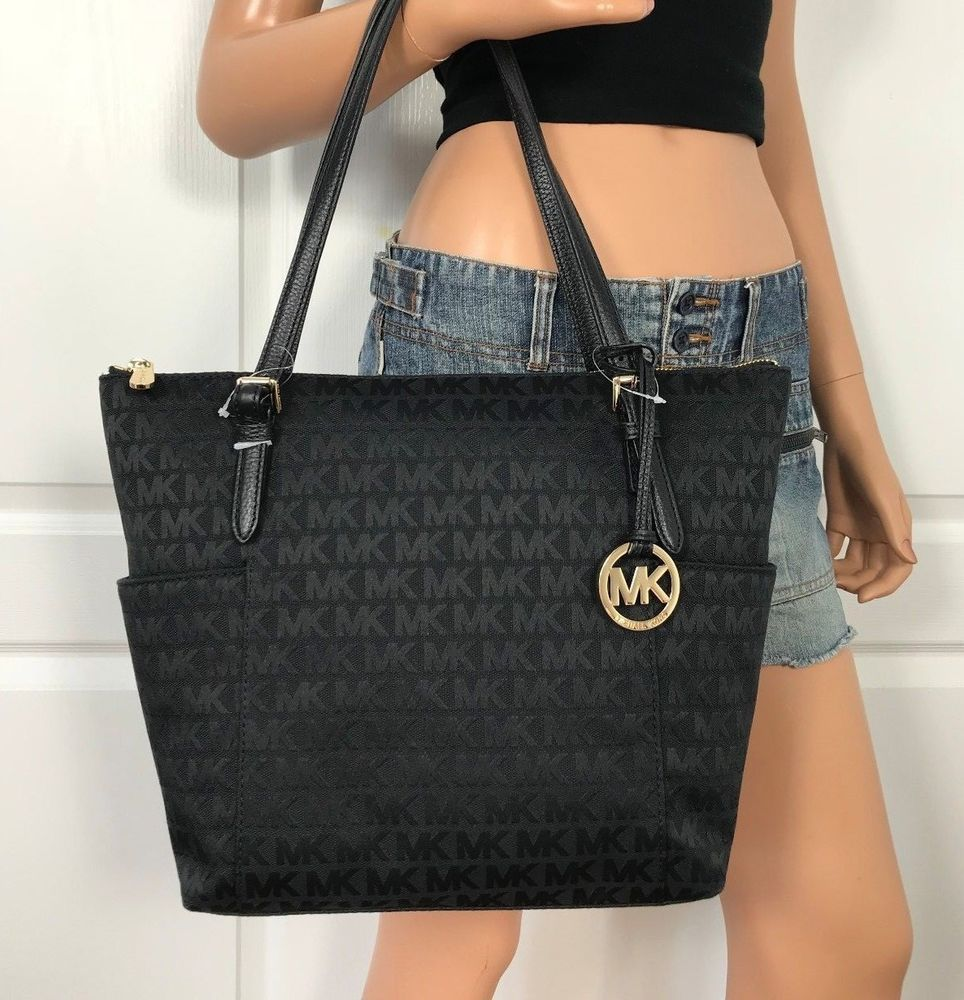 dad3bd366968 NWT MICHAEL KORS BLACK SIGNATURE JET SET ITEM TOP ZIP TOTE HANDBAG BAG  $248.00 #MichaelKors #ShoulderBag