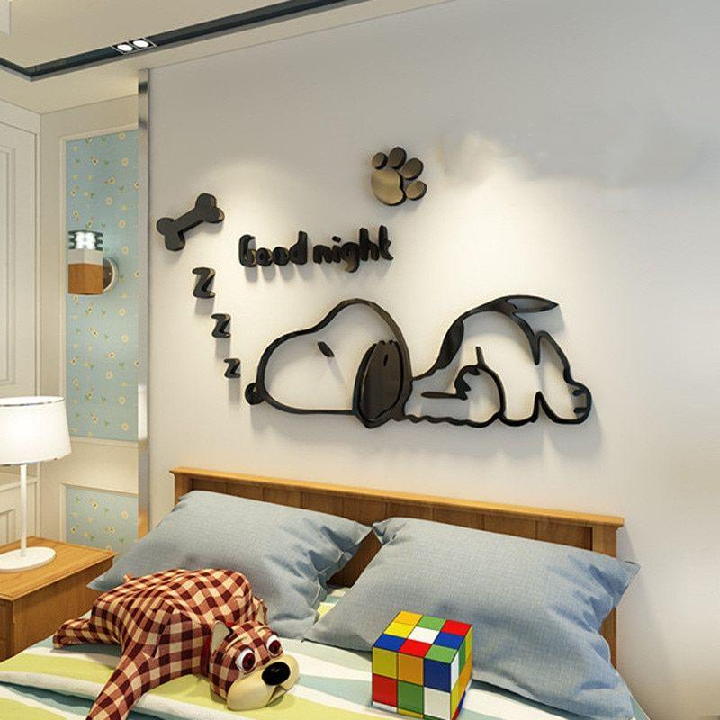 cute sleeping cartoon dog wall stickers mirror acrylic 3d on wall stickers for kids id=18615