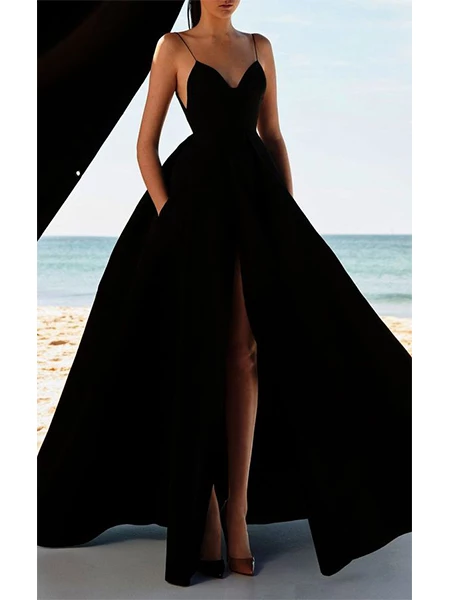 Sexy Satin Prom Dresses Spaghetti Straps wih Slit LPD011