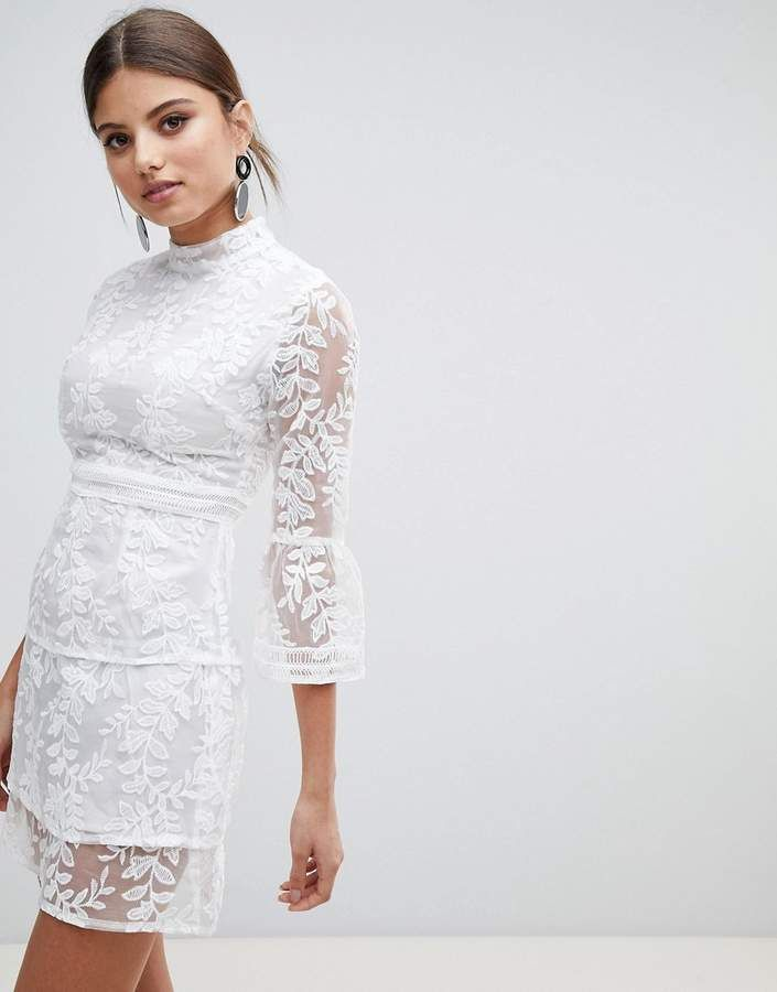ad7e5e16082 Boohoo Embroidered Mesh Tiered Skirt Dress White Dress Outfit