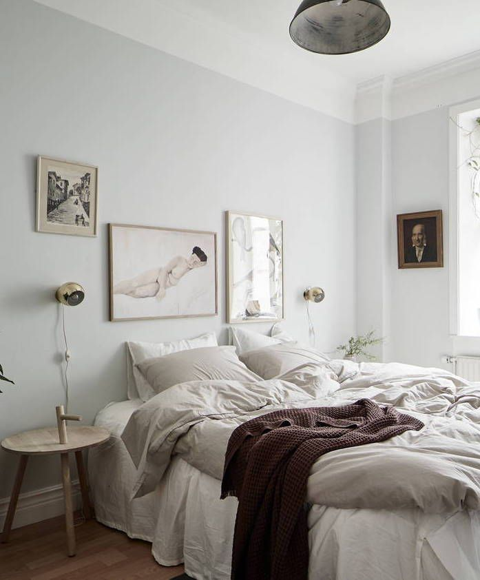 Cozy bedroom with light blue walls images