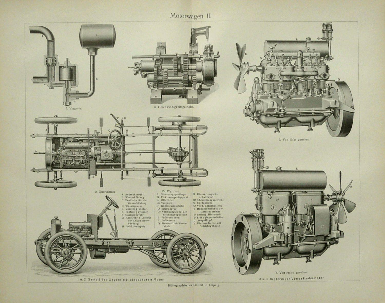 Ca 1910 Antiken Druck Von Alten Autos