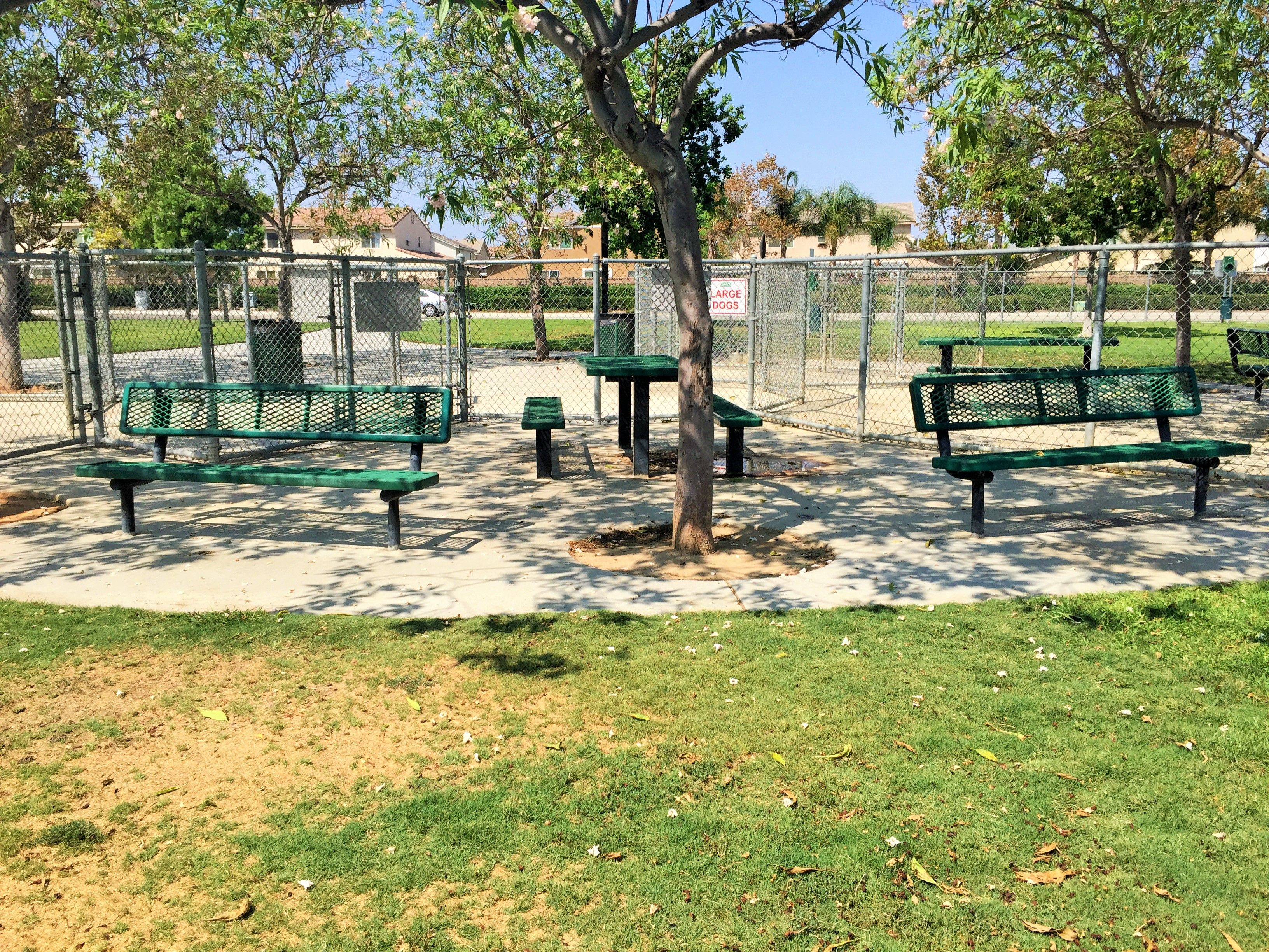 The sitting area inside the dog park for small dogs at Harada Heritage Park in Eastvale, California. http://youreastvalerealtor.com/eastvale-parks/