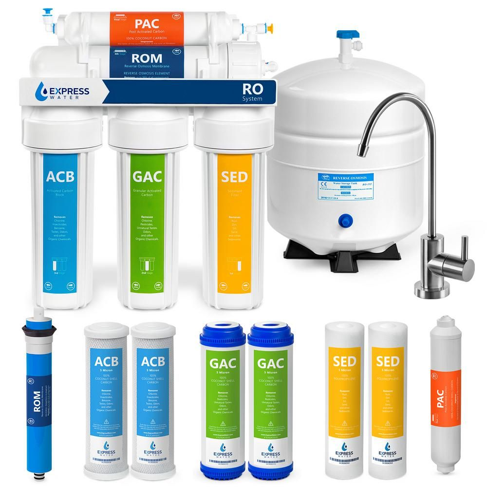 Express Water Reverse Osmosis Water Filtration System 5 Stage Ro Filter With Faucet And Tank 4 Free Replacement Filters 50 Gpd Ro5mx The Home Depot Reverse Osmosis Under Sink Water Filter Reverse Osmosis Water