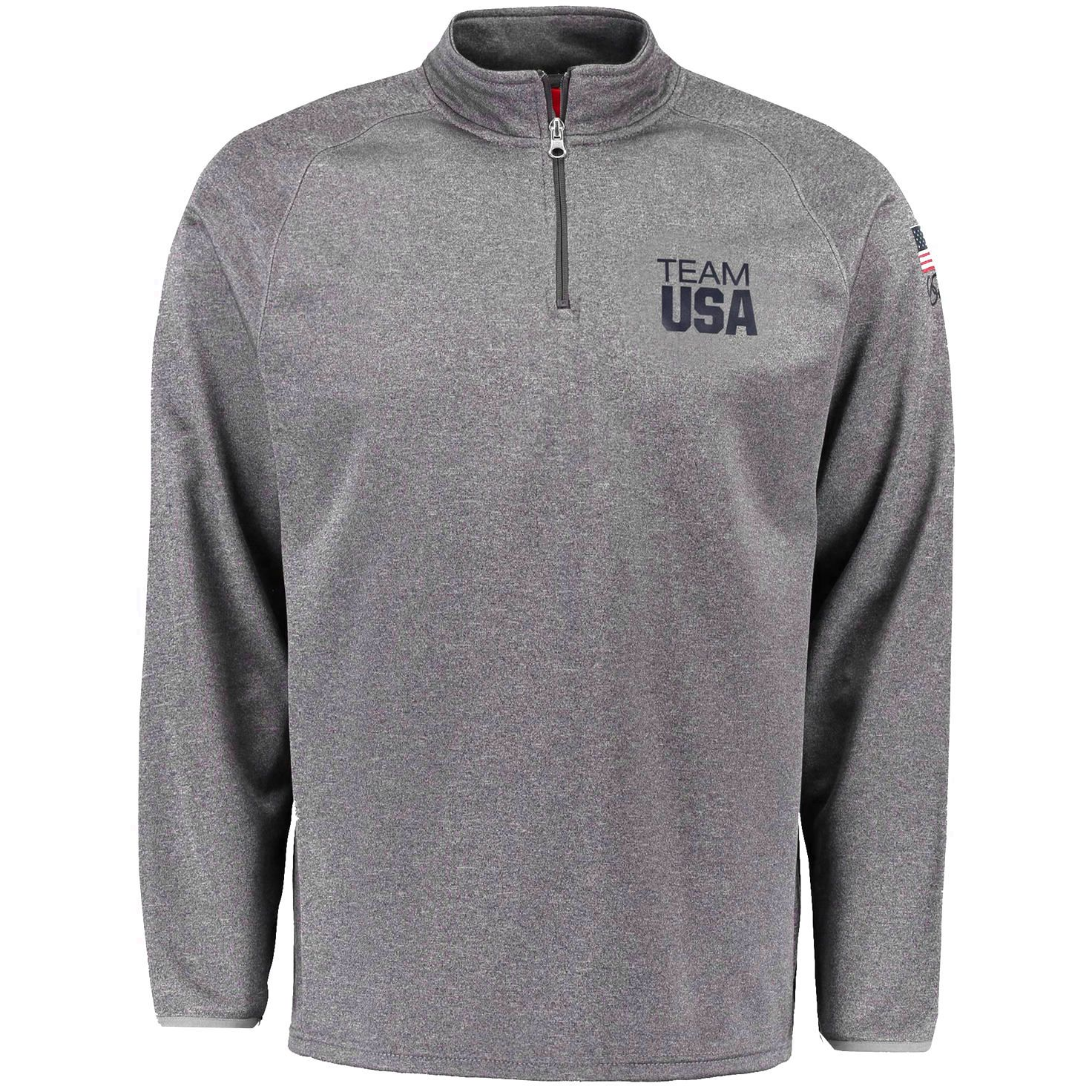 Team USA Cheering Section 1/4-Zip Pullover Jacket - Gray ...