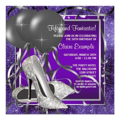 purple birthday invitation