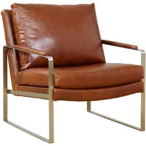 Beautiful Brown Leather Accent Chair More