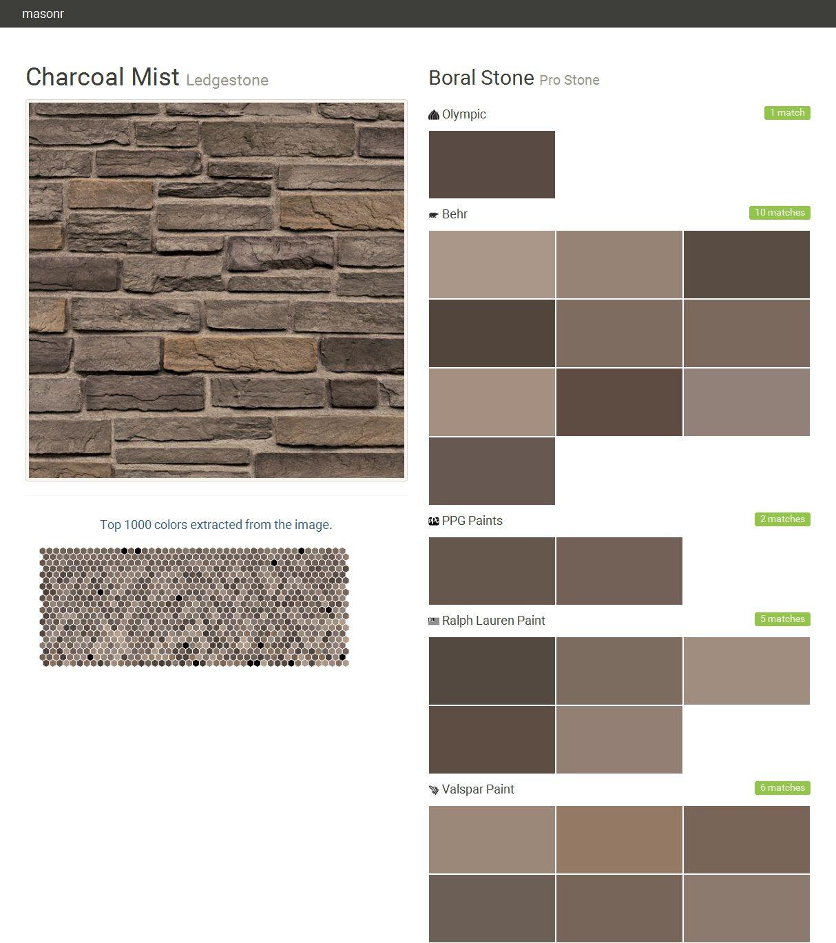 Charcoal mist ledgestone pro stone boral stone olympic for Behr pro paint