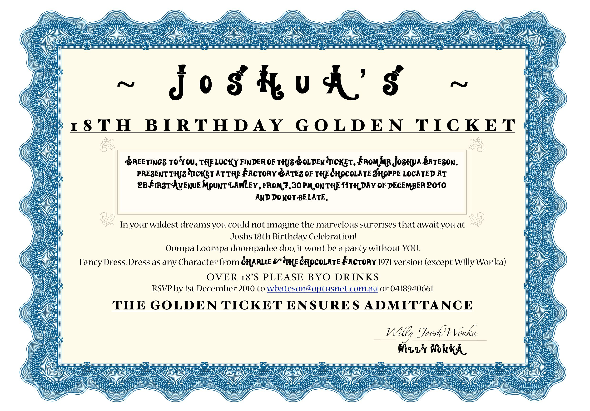 Josh\'s 18th Willy Wonka Party Invite- You can download the font from ...
