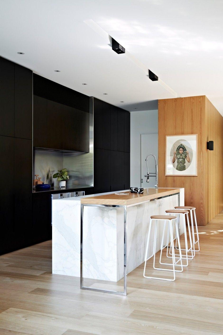 Ilot Cuisine Table A Manger belle #cuisine ouverte noir, blanc et bois. http://www.m