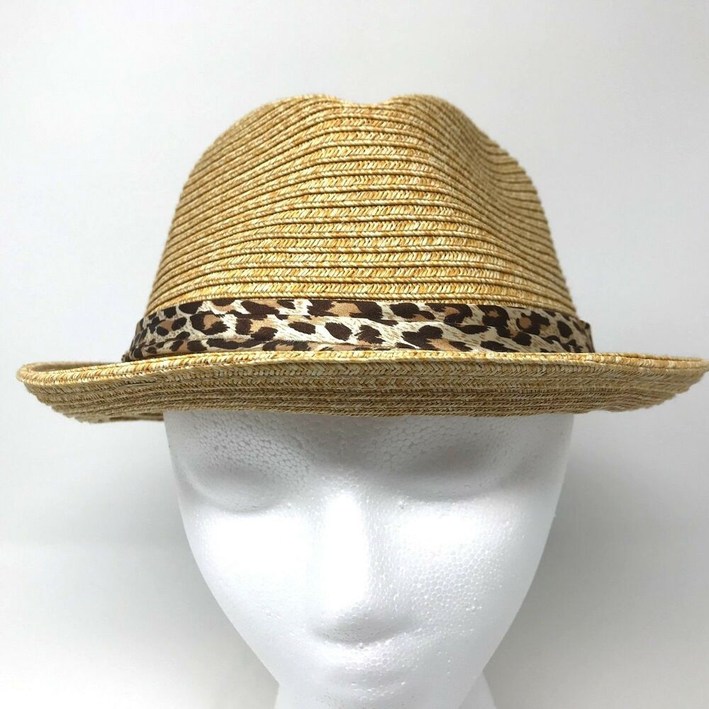 b84efcecb HBY MIAMI medium toyo paper straw Fedora HAT Leopard Band Dimpled ...