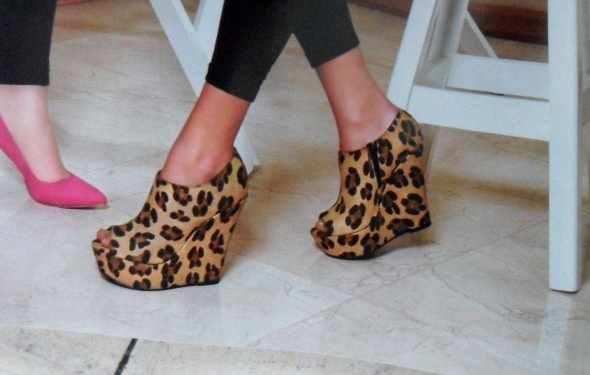 leopard open toe bootie wedges