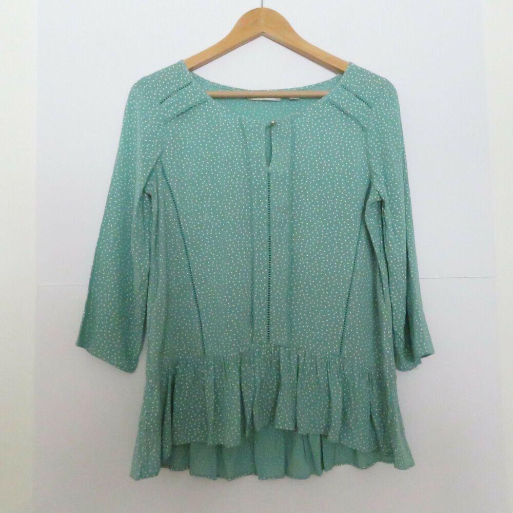 Lauren Conrad Womens Shirt Top Blouse Green Lace Front Size Medium,Large NEW