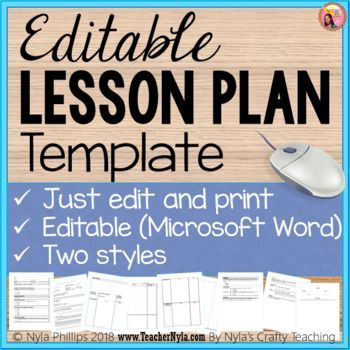 Editable Lesson Plan Template In Ms Word Just Edit And Print
