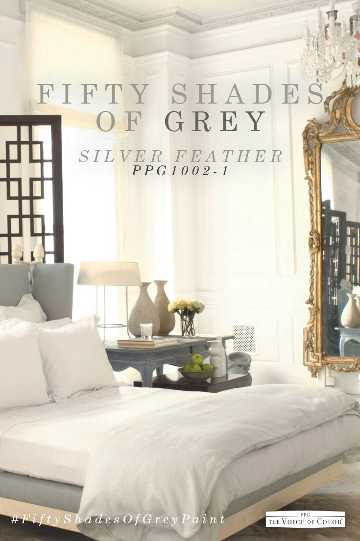 Grey bedroom color scheme featuring Silver Feather paint color by PPG Voice  of Color  Explore. Grey bedroom color scheme featuring paint color Gray Flannel by