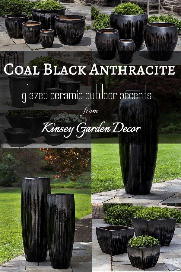 Glazed Ceramic Planter Pots Anthracite Black Outdoor 400 x 300