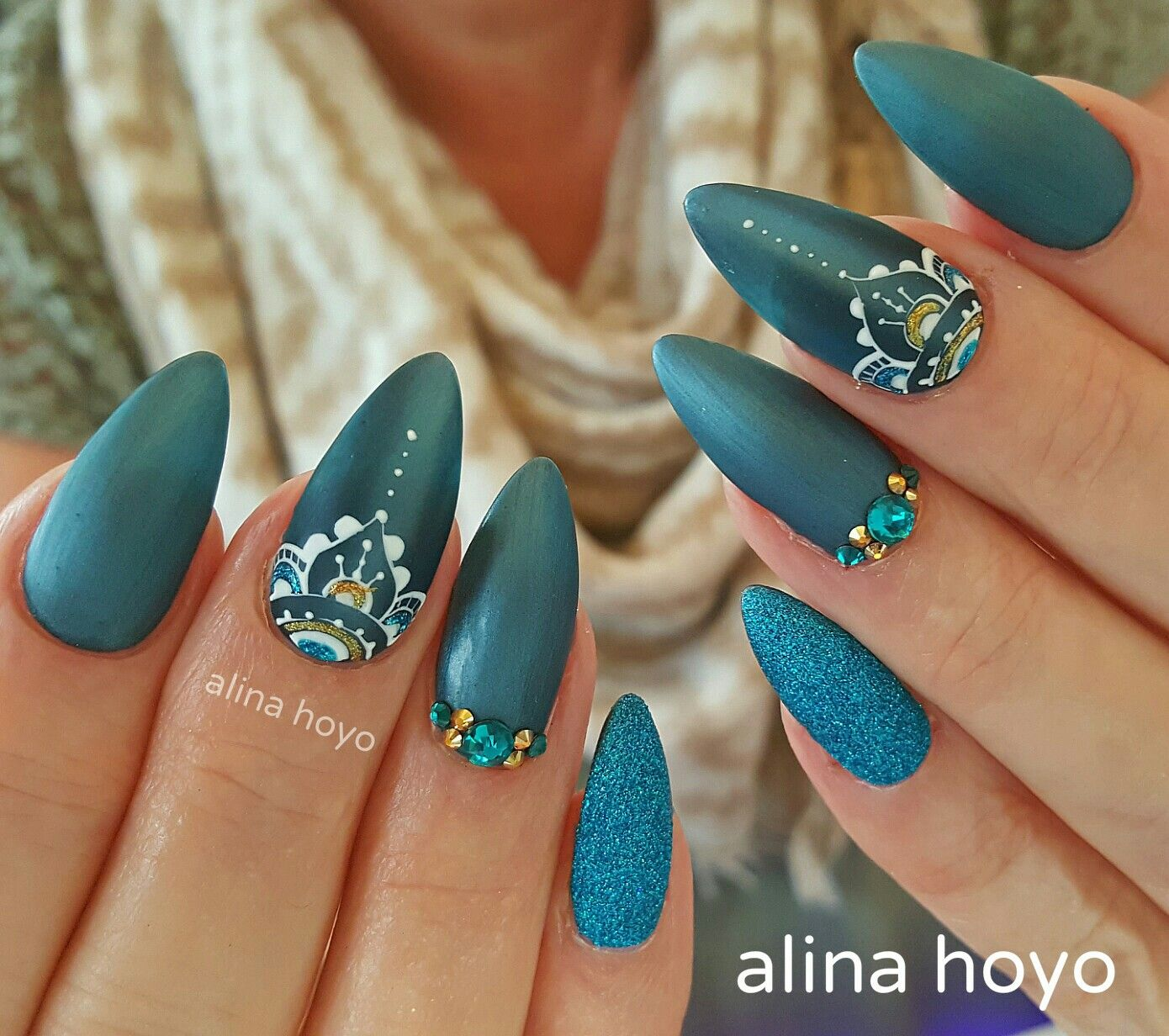 Blue glitter ombr 233 stiletto nails - Image Source Ugly Duckling Nails Inc