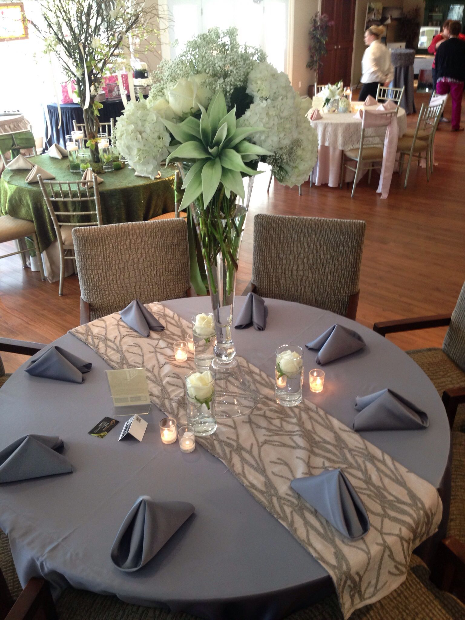 Sa wedding decor images  Charcoal satin napkins and table cloth allow you to incorporate any