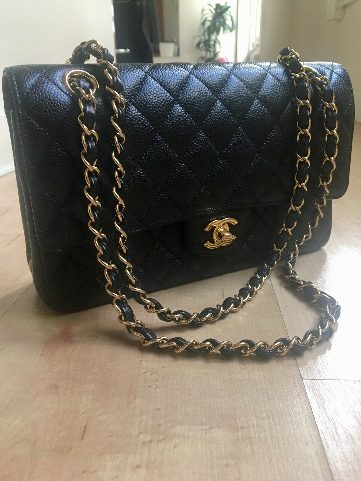 9a80fcf21b7f  FORSALE Authentic CHANEL Classic Double Flap Small Quilted Black Leather  Caviar Bag Gold -  3100