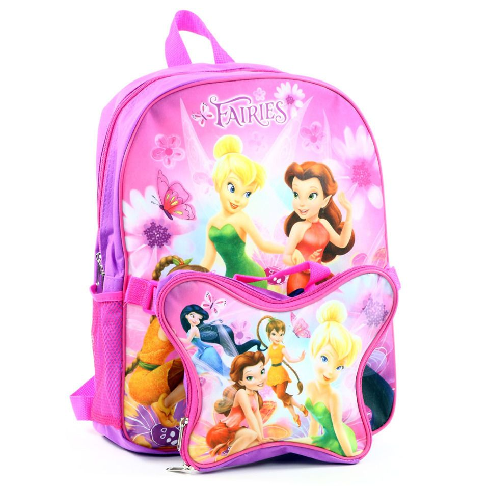 bfbfad74925 Disney Tinkerbell Backpack with Detachable Lunch Bag Pink and Purple  Disney