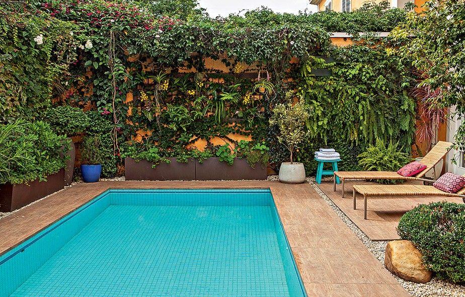 A piscina ocupa quase todo o quintal desta casa, mas a moradora fazia questão de ter muitas plantas. Para não atrapalhar a circulação, o paisagista Silvio Sanchez optou pela ocupação vertical. Os muros foram tomados por trepadeiras.